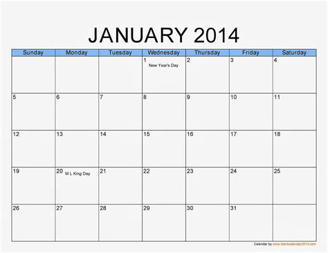 Calendar Site January 2014 Calendar Printable 1