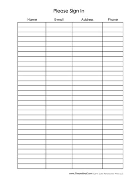 Blank Sign In Sheet Templates Name Address Phone Number Email Template