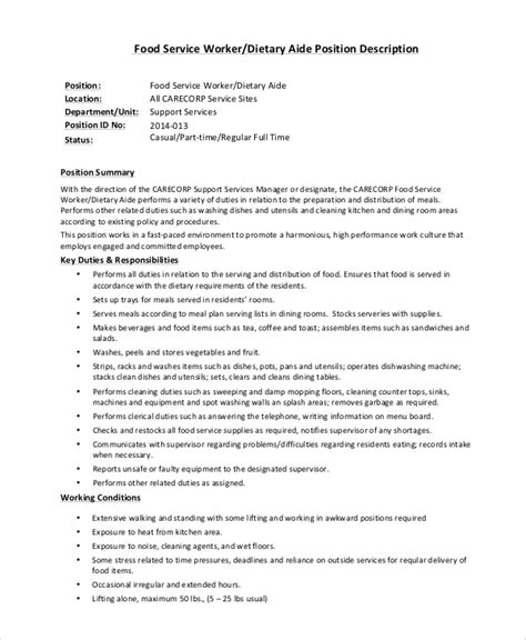 sle dietary aide job description 9 exles in pdf