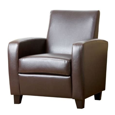 faux leather club chair pemberly row faux leather club chair in brown pr 490159