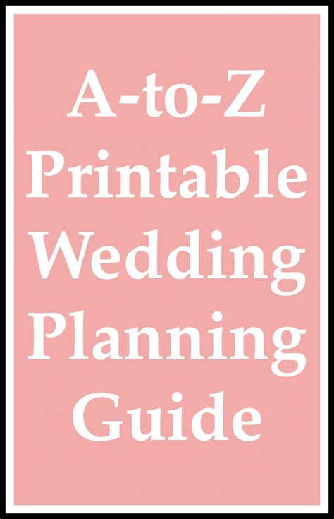 printable wedding planning guide