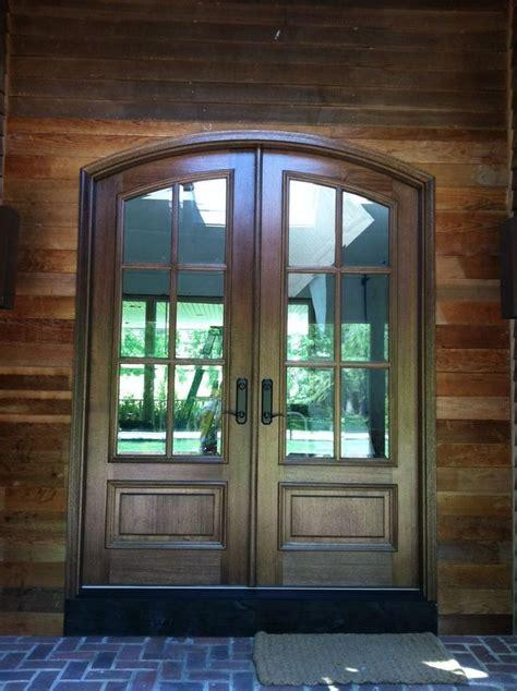 Pella Entry Door by Pella Mahogany Solid Wood Eyebrow Top Entry Door Panels