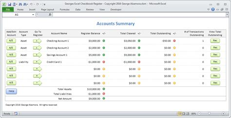 Credit Summary Template Excel Checkbook Software Spreadsheet Template