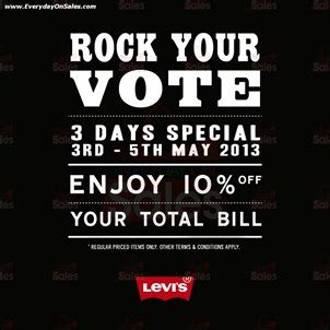 Discount For Voters Rock The Vote And Save Second City Style Fashion by Levis Rock To Vote Promotion Storewide 2013 All