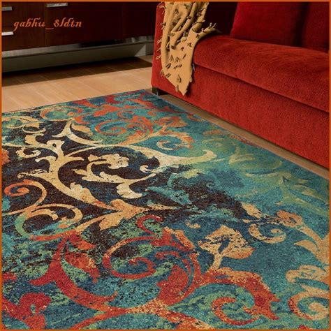 unique watercolor scroll area rug teal blue orange