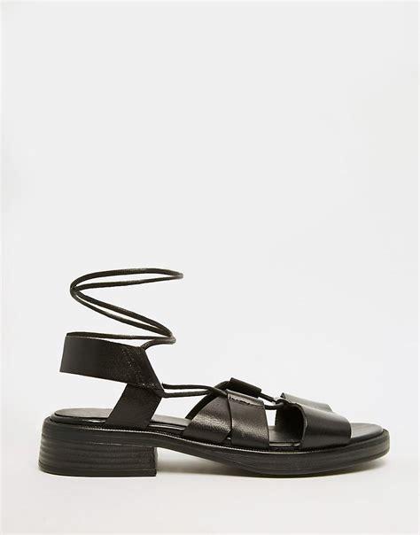 vagabond sandals vagabond black leather gladiator sandals in black lyst