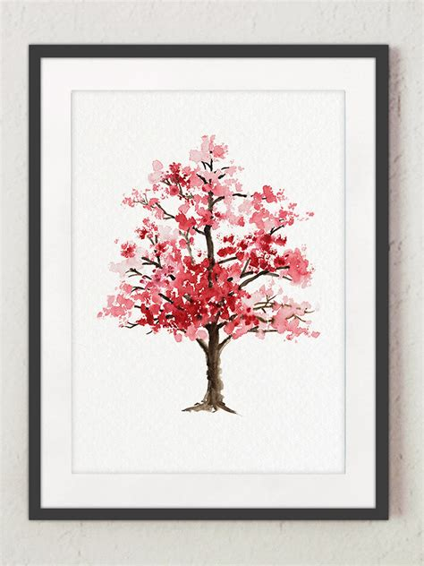For You In Blossom 4 cherry blossom tree watercolor painting floral giclee wall