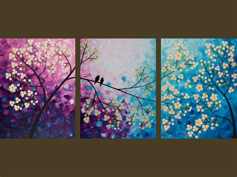 decor artwork set of 3 with painting on canvas watercolor