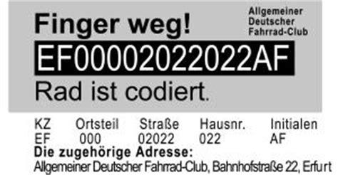 Aufkleber Fahrrad Codiert by Adfc Kreisverband Erfurt