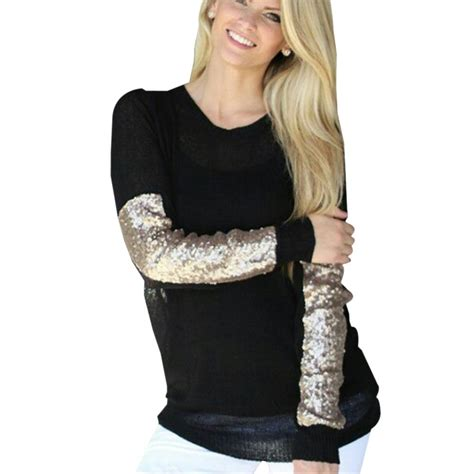 Blouse Squin Top silver sequin tops blouse green black shirt causal plus size fashion sleeve