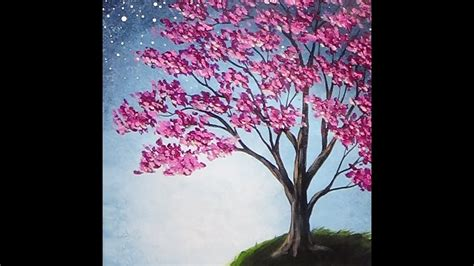 acrylic tree blossoming tree acrylic painting with sponge painted