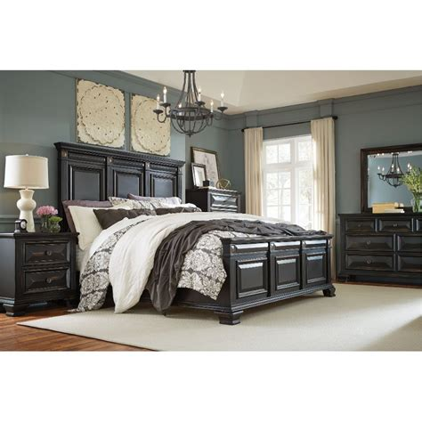 black traditional  piece king bedroom set passages rc willey furniture store