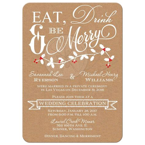 in wedding reception invitations winter wedding reception invitation eat drink be merry faux kraft paper leaves