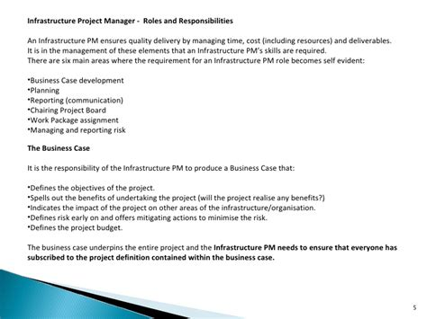 Infrastructure Project Manager Description by Infrastructure Project Manager