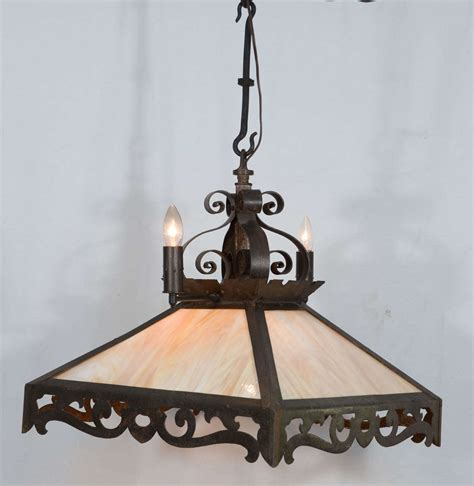 Combination Rustic Gas And Electric Slag Glass Chandelier Slag Glass Chandelier