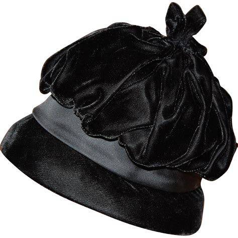 black velvet tufted tufted black velvet and satin cloche hat from