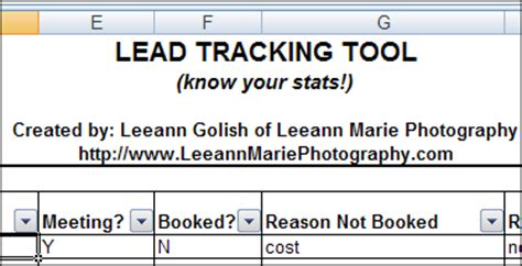 Excel Lead Tracker For Photographers Spreadsheet Day Lead Tracking Excel Template