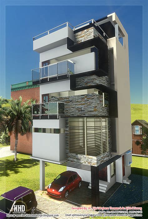narrow home designs 3 floor contemporary narrow home design kerala home design architecture house plans