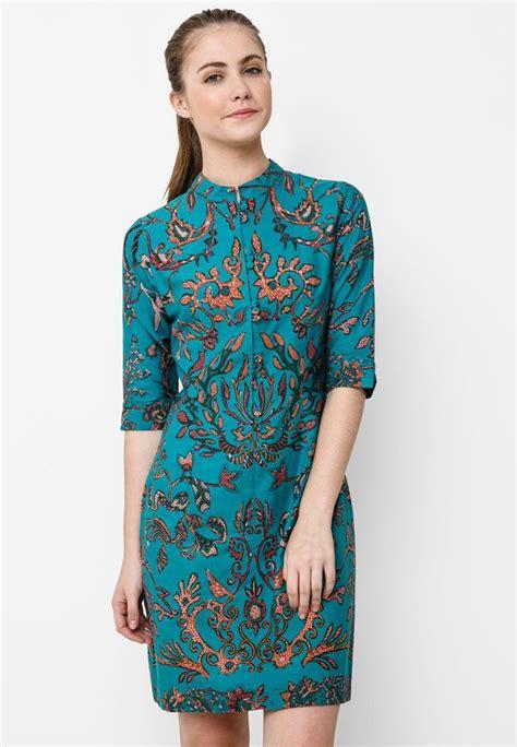 Rianty Olinda Batik Dress Brown batik mini dress pleat batik