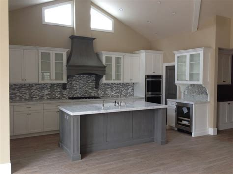 shaker style kitchen island shaker white kitchen fluted grey island style kitchen los angeles by woodwork
