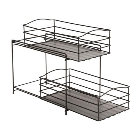 Shelf Sliding Basket by Seville Classics 2 Tier Sliding Basket Kitchen Cabinet Organizer Gun Metal