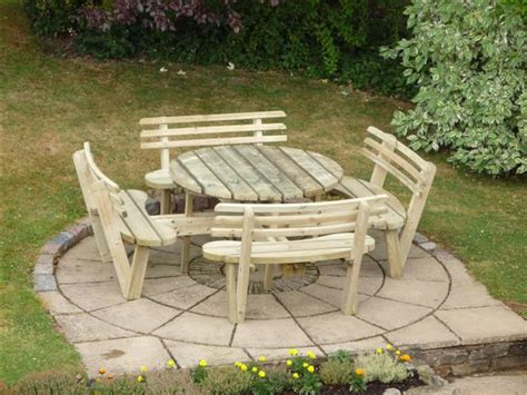 round garden bench round 8 seat picnic bench garden table with seat backs
