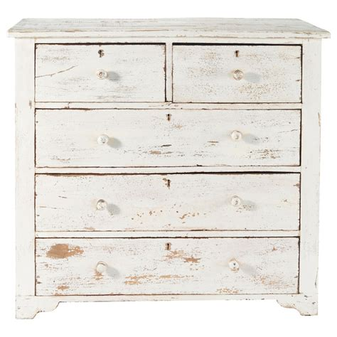 White And Wood Chest Of Drawers by Distressed Mango Wood Chest Of Drawers In White W 94cm