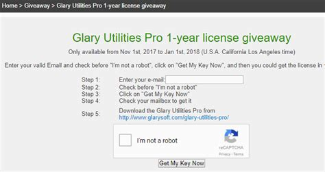 Http Www Glarysoft Com Giveaway Index Mh Php - glary utilities pro 5 registration code free serial key 1 year