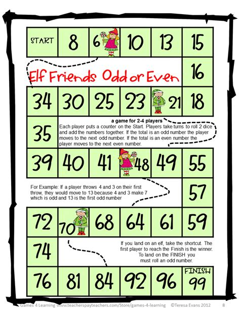 printable math board games for 6th grade fun games 4 learning christmas math games