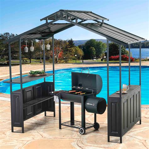 hardtop grill gazebo sunjoy 8 x 5 ft deluxe top grill gazebo with serving