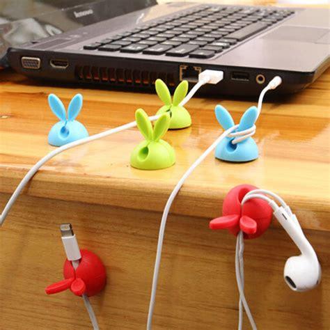 Cable Holder Clip Rabbit ᓂ4pcs multipurpose rabbit earphone cable cable cord wire line organizer organizer