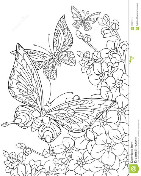 Zentangle Stylized Butterflies And Sakura Flower Stock