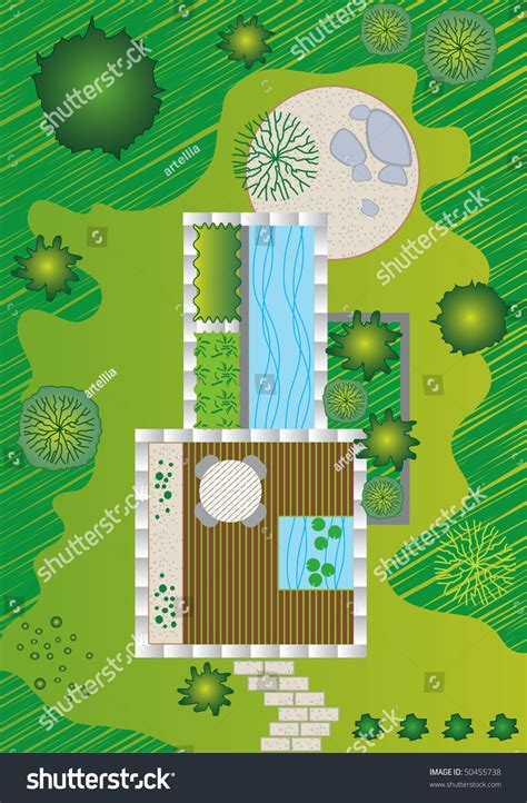 garden layout vector plan of a landscape and garden design stock vector