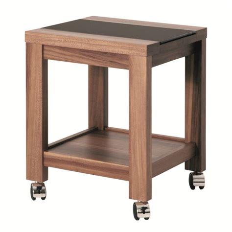 Table d'appoint à roulettes Mino en bois et verre trempé