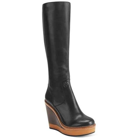 armani shaft platform wedge boots in black lyst
