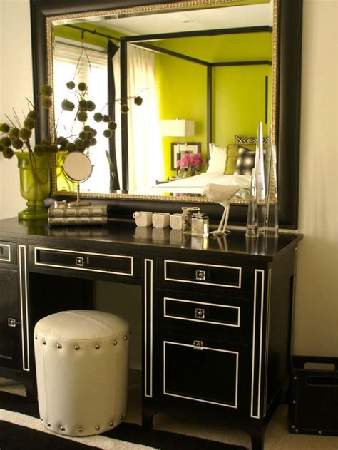 black vanities for bedrooms black and white vanity in green bedroom on hgtv home
