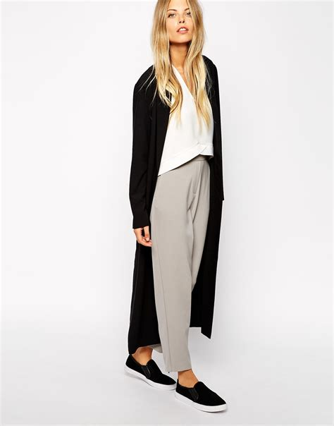 Jacket Maxi asos crepe duster jacket in maxi length in black lyst