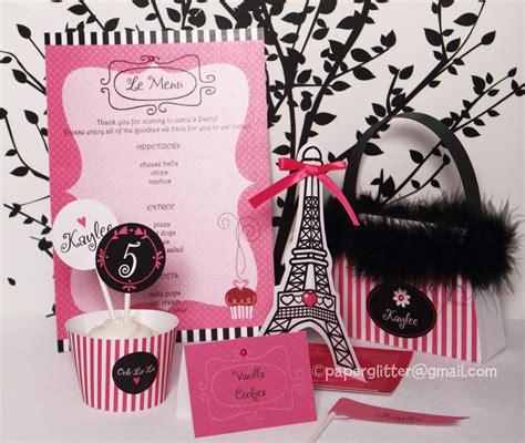 free printable paris party decorations paris party hot pink invitation and kit printable decoration