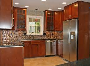 gallery kitchen backsplash ideas with cherry cabinets powder room home design