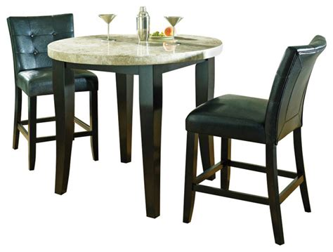 Marble Top Bistro Table Set Steve Silver Monarch 3 Marble Top Counter Height Set Traditional Indoor Pub And Bistro