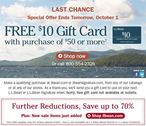 Ll Bean Gift Cards For Sale - l l bean save up to 70 free 10 gift card