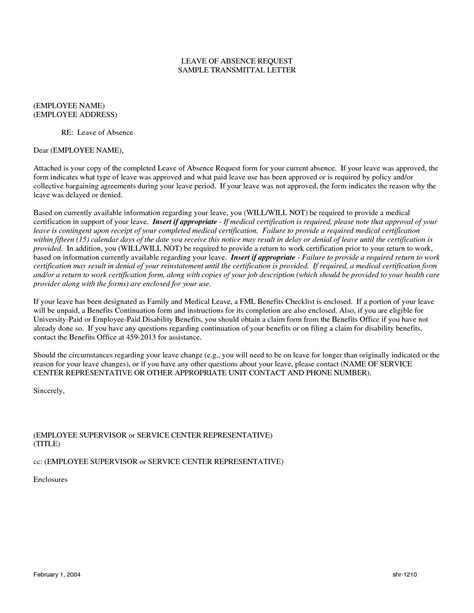 Leave Of Absence Letter Sle Pdf Image Gallery Leave Of Absence