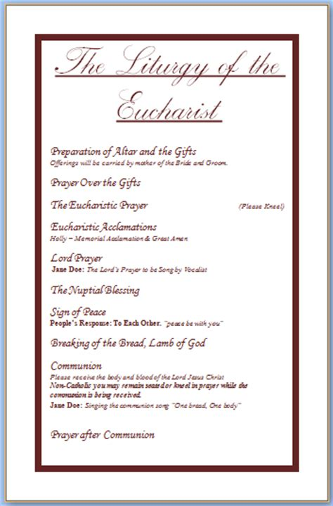 christian wedding program template wedding programs