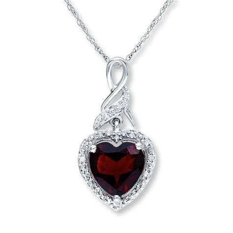jared garnet necklace 1 20 ct tw diamonds sterling