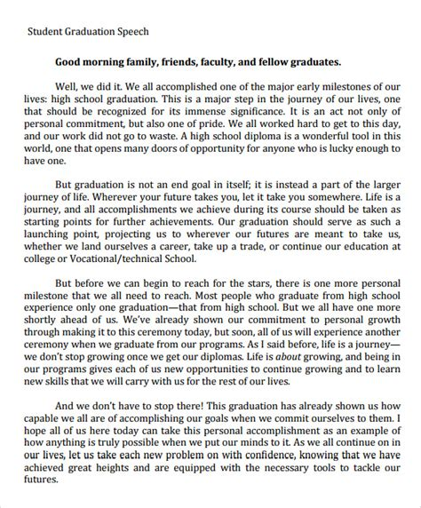 valedictorian speech template sle graduation speech 5 documents in pdf
