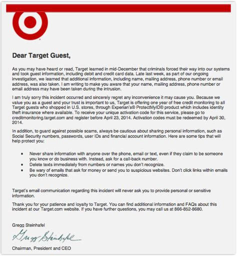 Target Credit Card Breach Letter Security Analytics Big Data Use Business Analytics 3 0