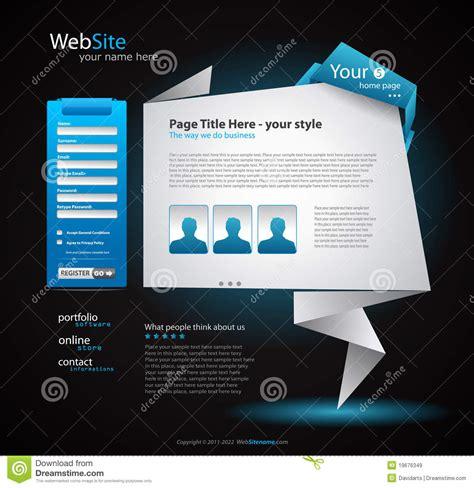 Origami Website - origami website design for business stock vector