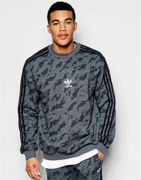 camo sweatshirts adidas originals camo sweatshirt aj7902 in gray for lyst