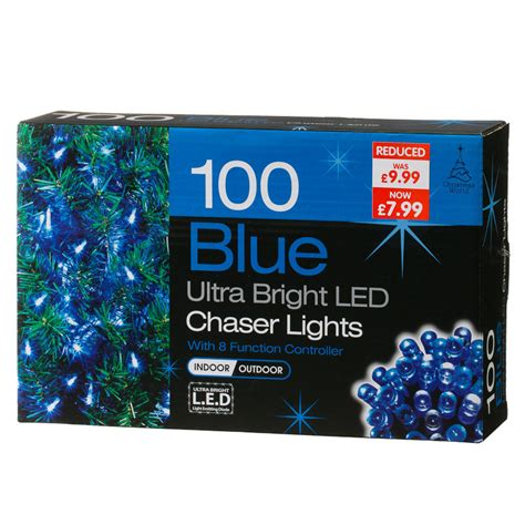 b m gt 100 bulb blue led chaser christmas lights 257567