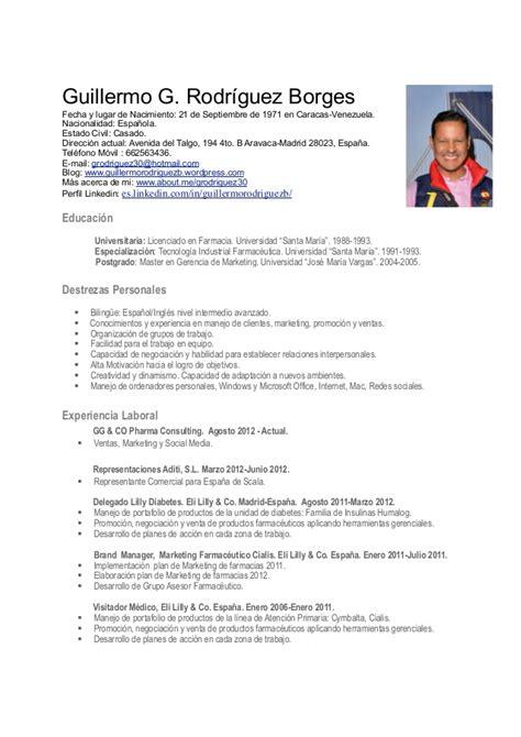Modelo De Curriculum Vitae En Espana Cv Guillermo Rodr 237 Guez Madrid Espa 241 A Pdf Actualizado Enero 2013